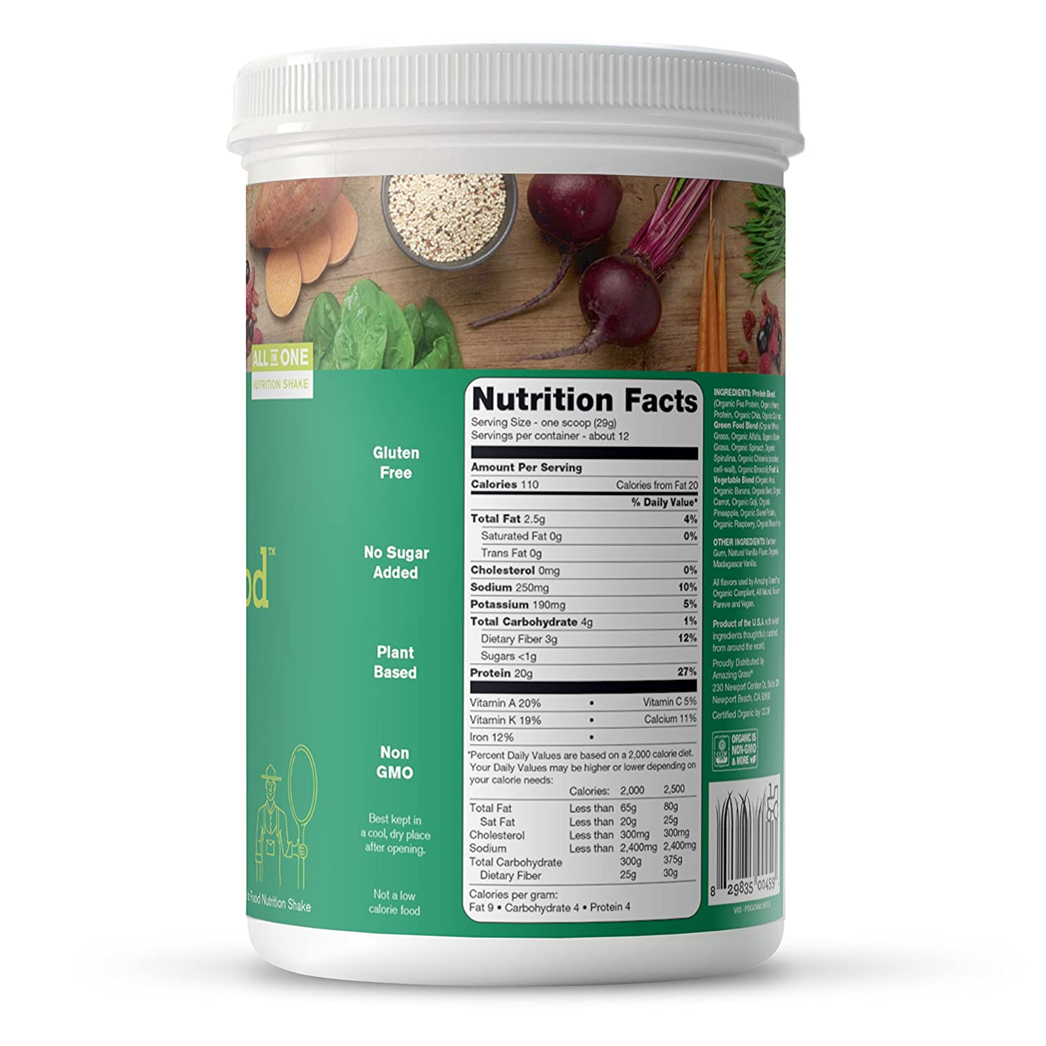 6905af0fa Amazon.com : Amazing Grass Organic Plant Based Vegan Protein Superfood  Powder with Vitamin Matrix, Unflavored, 12 Servings, 12.2oz, Meal  Replacement Shake ...