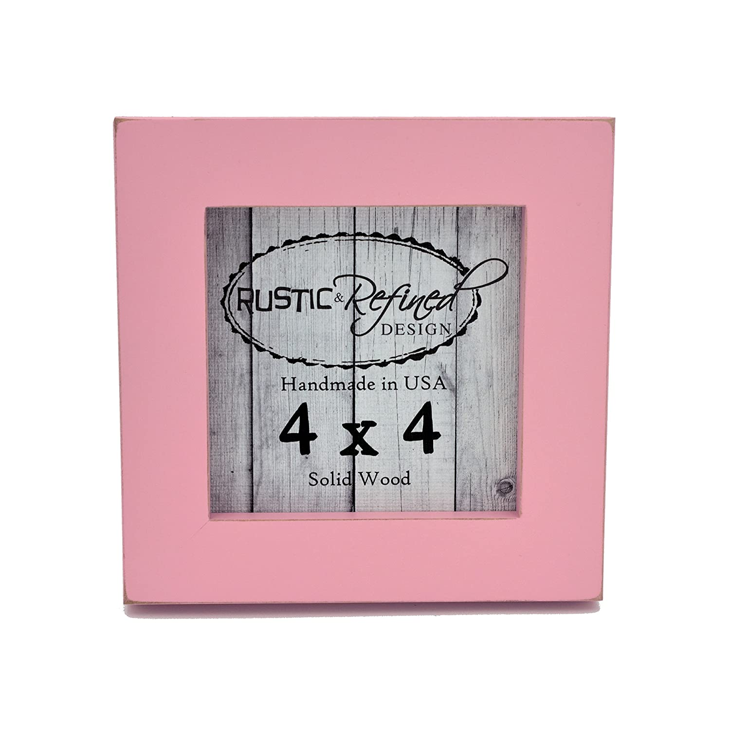 4x4 Solid Wood Made in USA Picture Frame with 1 Inch Border Gallery Collection Petal Pink Rustic and Refined Design 2030