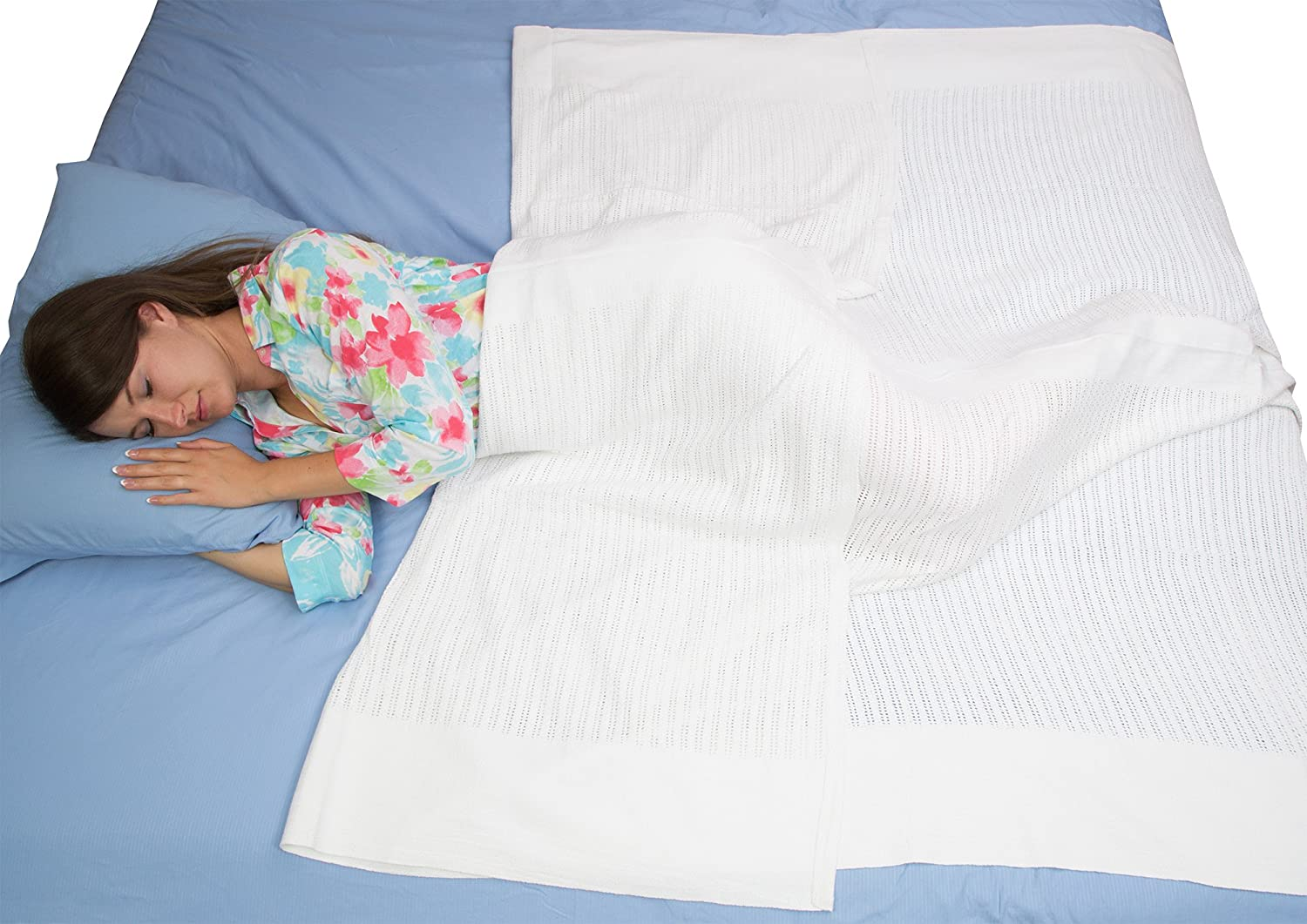 100% Cotton Twin Size Hospital Thermal Blanket - Open Weave Cotton Blankets