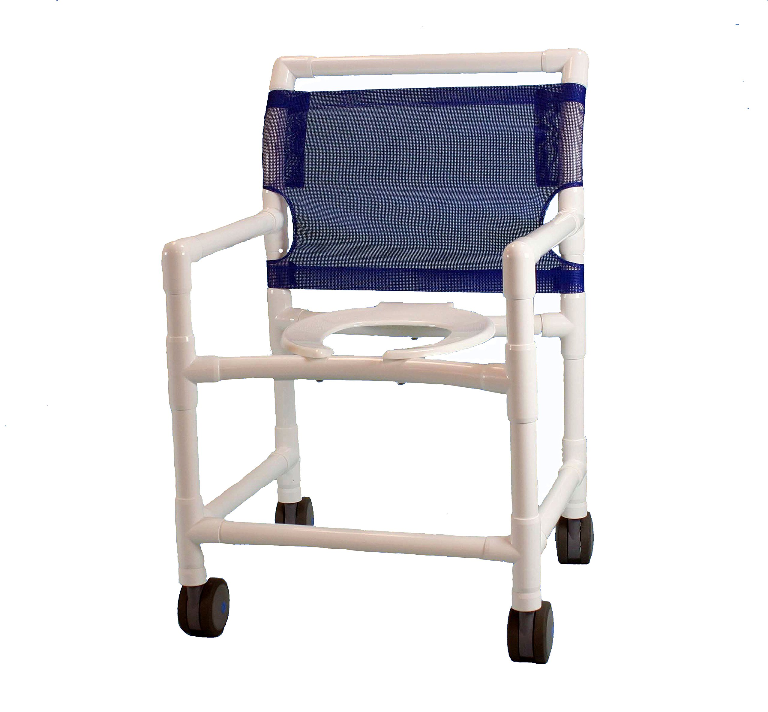 Care Products 520W-RB Midsize Deluxe Shower Chair with 4'' EZ Clean Twin Wheel caster, 39'' Height, 18'' width, 24'' Length