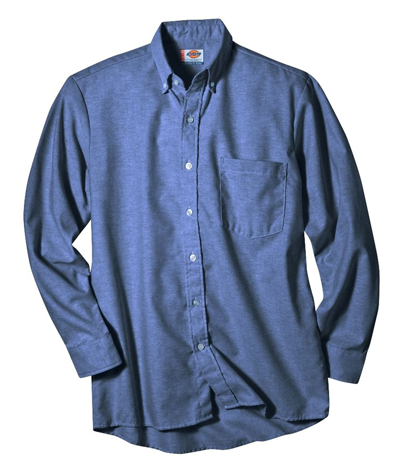 Dickies Occupational Workwear SS36BS Polyester//Cotton Mens Button-Down Long Sleeve Oxford Shirt Blue with White Stripe