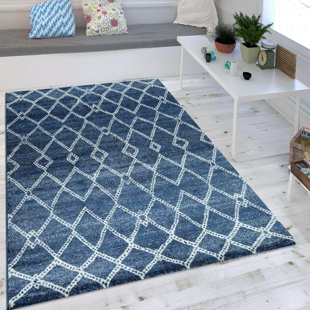 Paco Home Wohnzimmer Teppich Indigo Blau Marokkanisches Muster Modern Maritimer Stil, Grösse 160x230 cm