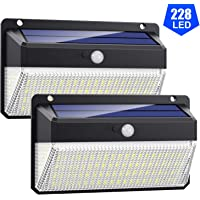 VOOE Luz Solar Exterior 228 LED [Versión Super Brillante 2200mAh] Foco Solar Exterior con Sensor de Movimiento 270°de Iluminación Luces Solares Impermeable Lámpara Solar 3 Modos Para Jardín 2-Paquete