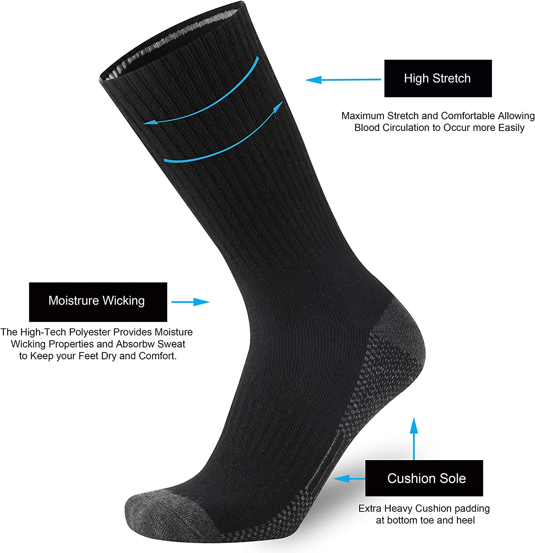 ONKE Cotton Moisture Wicking Athletic Work Boots Cushion Crew Socks Men Pack