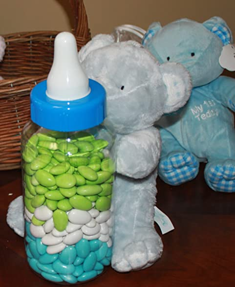 Large Blue Teddy Bear And Baby Bottle Filled With Jordan Almonds Boy Baby  Shower Center Piece