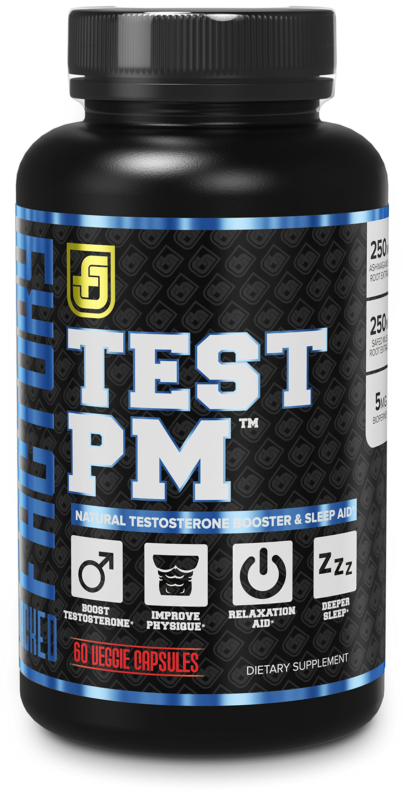 TEST PM Night Time Testosterone Booster and Sleep Aid Supplement for Men | Premium 5:1 Ashwagandha Root, L-Theanine, & More | 60 Natural Veggie Pills