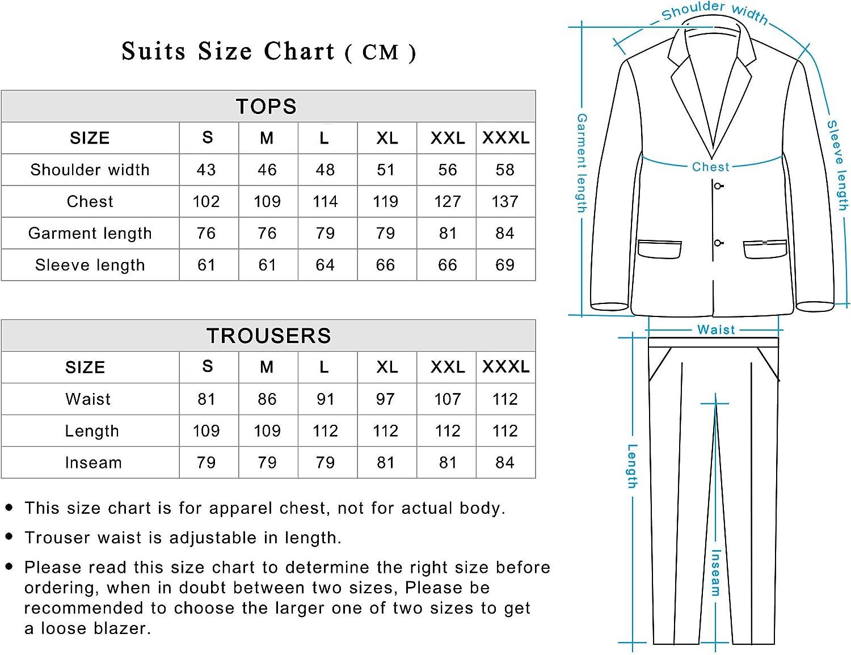 Color s/ólido Traje de Fiesta para Hombre Traje de Ocio para Fiesta de Halloween con Corbata y Pantalones