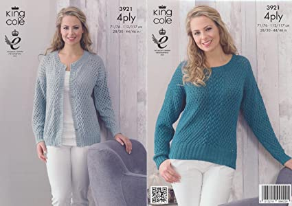 6b8b29e2ee61 King Cole 4 Ply Pattern - 3921 Womens Cable Knit Cardigan and Jumper ...
