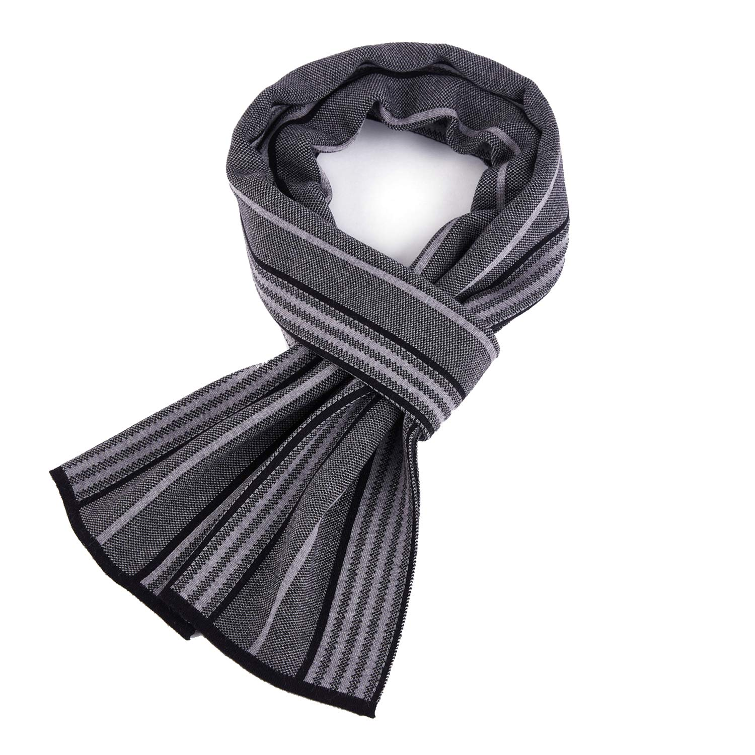 Taylormia Men's Winter Cashmere Scarf Warm Thick Long Stripe Knit Scarves Black Grey