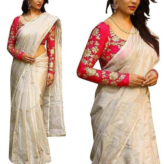 White chanderi cotton blouse