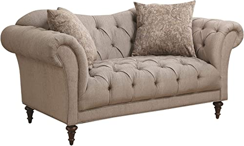 Coaster 505572 Alasdair Upholstered Loveseat with Button Tufting, Light Brown
