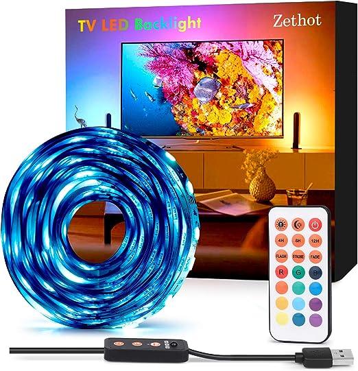 Tira LED TV 3.5 M, Bias Lighting para TV de 50-65 pulgadas, RGB de ...