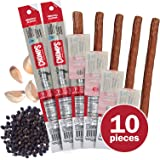 CHOMPS Grass Fed Beef Jerky Snack Sticks - Non-GMO Gluten and Sugar Free 100 Calorie Snacks - Paleo and Keto Friendly - Whole30 Approved - Original Beef - 1.15 Ounce Stick - Pack of 10…