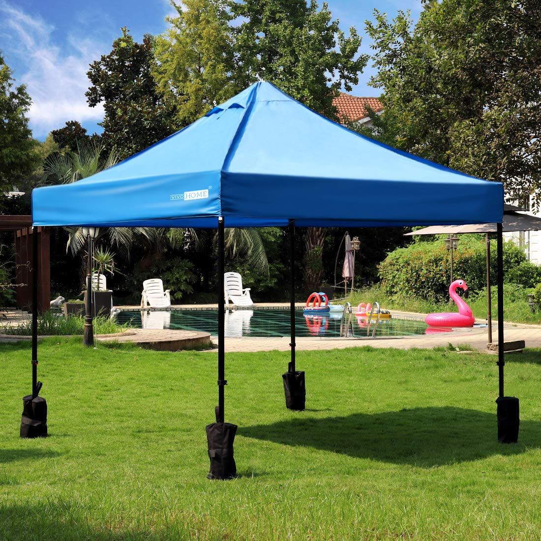 VIVOHOME 420D Oxford Heavy Duty Outdoor Easy Pop Up Instant Canopy Party Tent with 4 Sand Bags Blue 10 x 10 ft