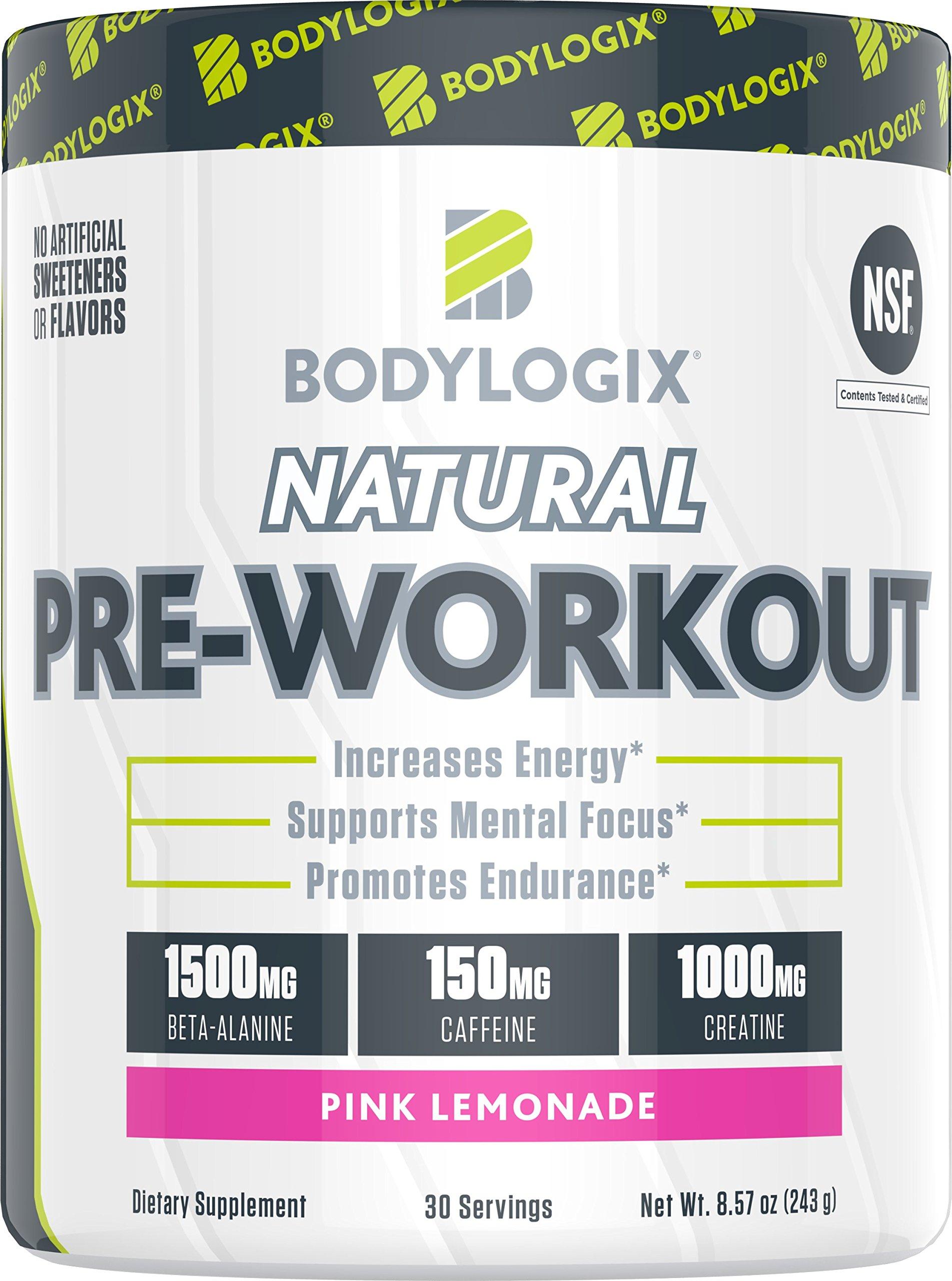 Bodylogix Natural Pre-Workout Powder, NSF Certified, Pink Lemonade, 30 Servings