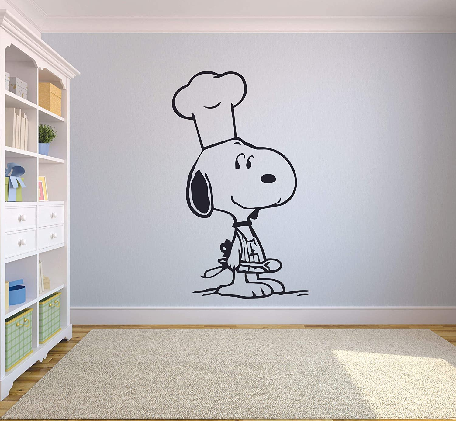 Snoopy Wall Decals for Kids Bedroom / Snoopy Dog Boys Room Decor / Vinyl Art Stickers Decal Childrens Rooms / The Peanuts Movie Cartoon Character Fun Look Dogs Snoopy Chef Cooking - Size (20x12 inch)