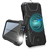BLAVOR Solar Charger Power Bank 18W, QC 3.0 Portable Wireless Charger 10W/7.5W/5W with 4 Outputs & Dual Inputs, 20000mAh…