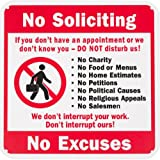 """Amazon Price History for:WALI Plastic Sign for Home Business Security, Legend """"No Soliciting Don't Interrupt No Excuses"""", Rectangle 10"""" High X 10"""" Wide, Black/Red/Blue On White, UV Protected and Waterproof"""