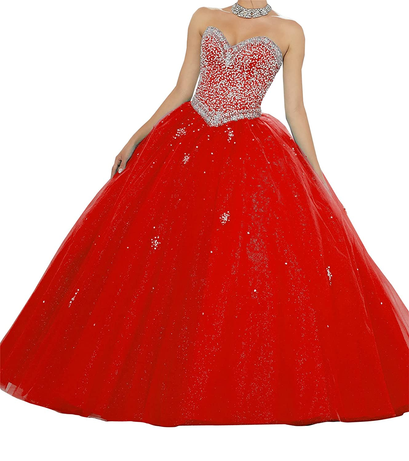 Red TuanYuan Sweetheart Girls 16 Full Beaded Evening Gowns Women Floor Length Quinceanera Dress