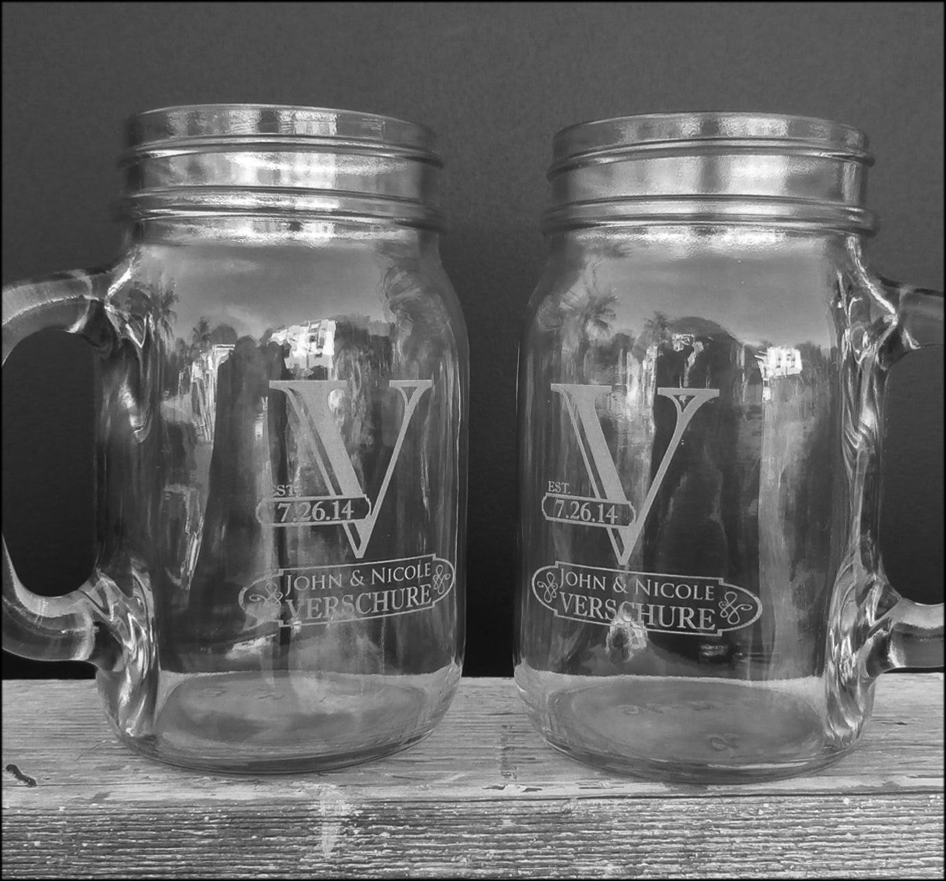 Initial Mr Mrs Set of 2 Personalized Mason Jars Drinking Mugs with Handle Personalized Custom Etched with Name and Date for Wedding, Engagement Anniversary Bridal Party Gift of Favor for Newlyweds Couple Etched Laser Engraved His and Hers Couple Gift Idea by Custom-Engraved-Glasses-by-StockingFactory (Image #5)