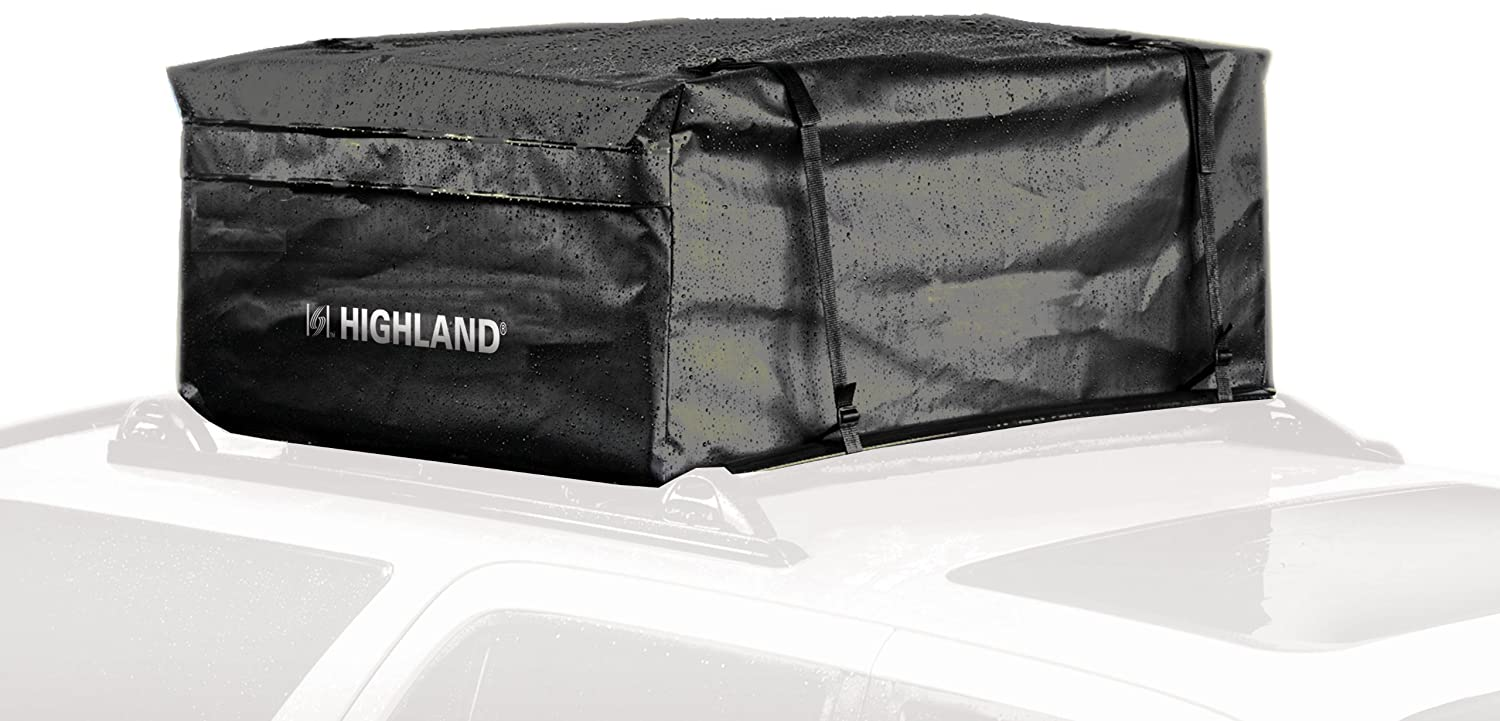 Highland 1038900 Black 15 cu.ft. Rainproof Car Top Bag with Storage Sack Hidden Hitch