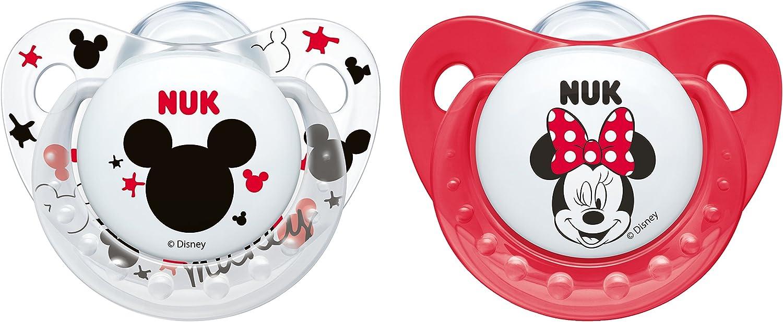 Chupete de silicona Disney Mickey, con forma de mandíbula, más respetuoso con los dientes, 2 piezas rot/weiß Talla:6-18 meses: Amazon.es: Bebé