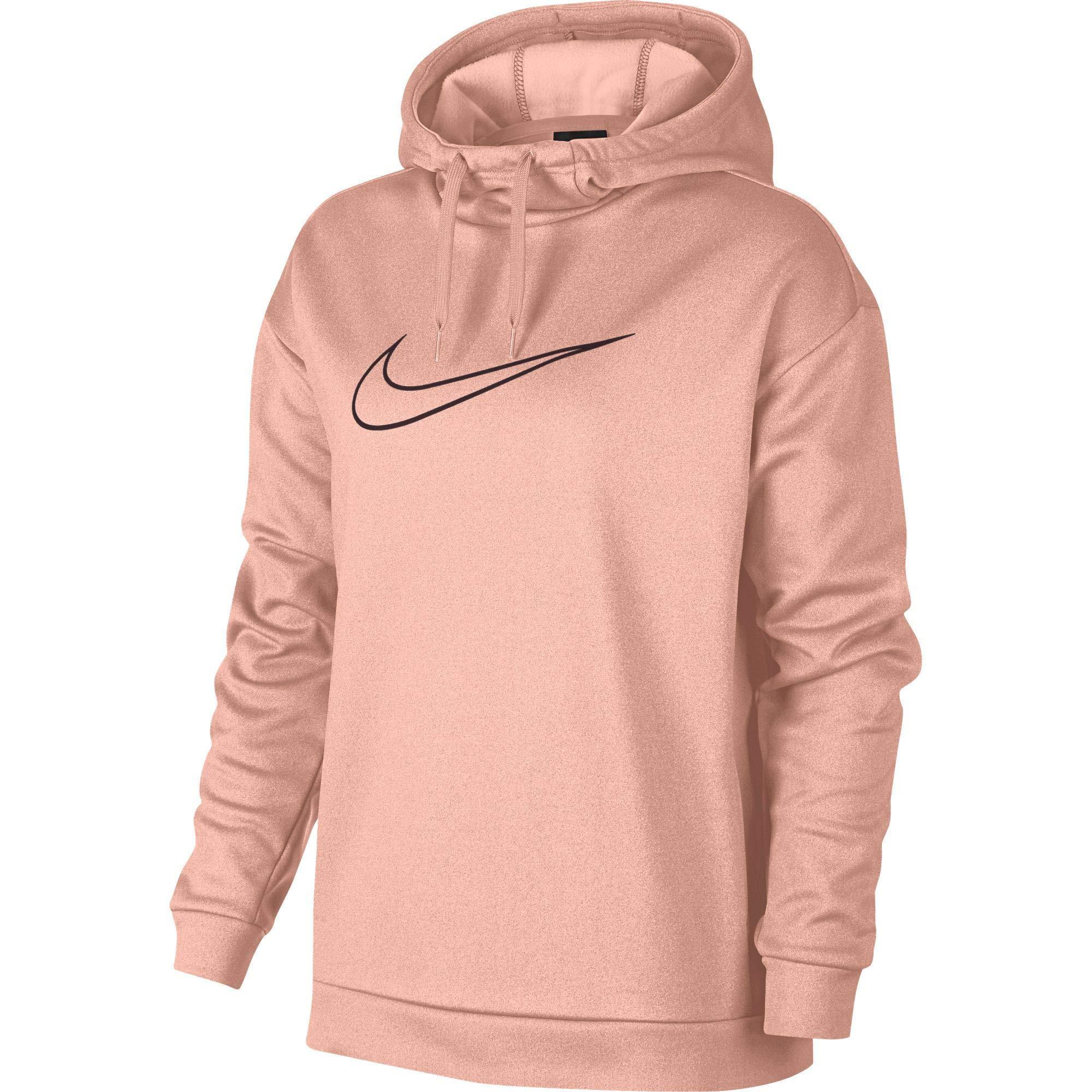 Nike Women's Therma Swoosh Fleece Training Hoodie Storm Pink/Burgundy Crush Size Medium