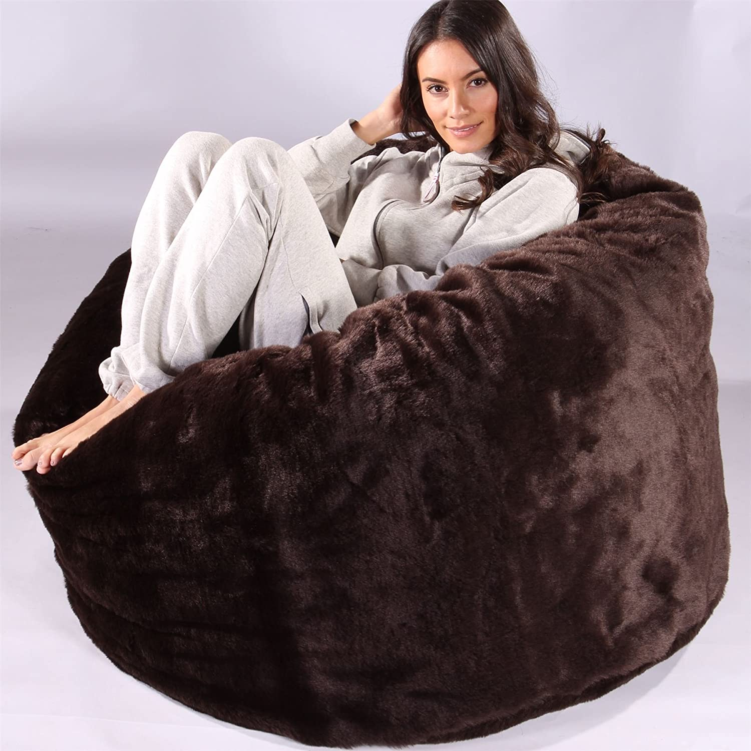 5e9a5b486d Lounge Pug® - CLOUDSAC - Fluffy FAUX FUR - Large Memory Foam GIANT Bean Bag  - The GIANT - BROWN Bear  Amazon.co.uk  Kitchen   Home
