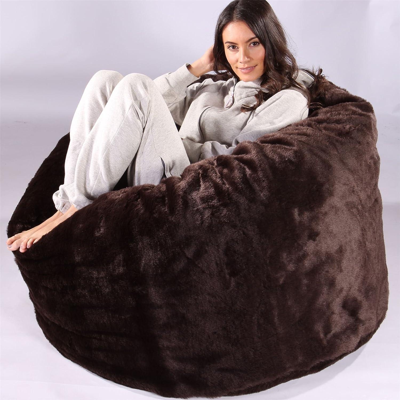 5e9a5b486d Lounge Pug® - CLOUDSAC - Fluffy FAUX FUR - Large Memory Foam GIANT Bean Bag  - The GIANT - BROWN Bear  Amazon.co.uk  Kitchen   Home