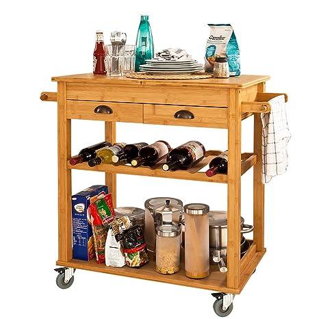 SoBuy® Carrito de servir XXL de bambú de alta calidad, carrito de cocina,