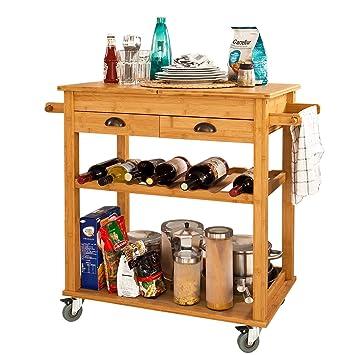 SoBuy® Carrito de servir XXL de bambú de alta calidad, carrito de cocina, estantería de cocina, L80xP50xA90cm, FKW08-N: Amazon.es: Hogar