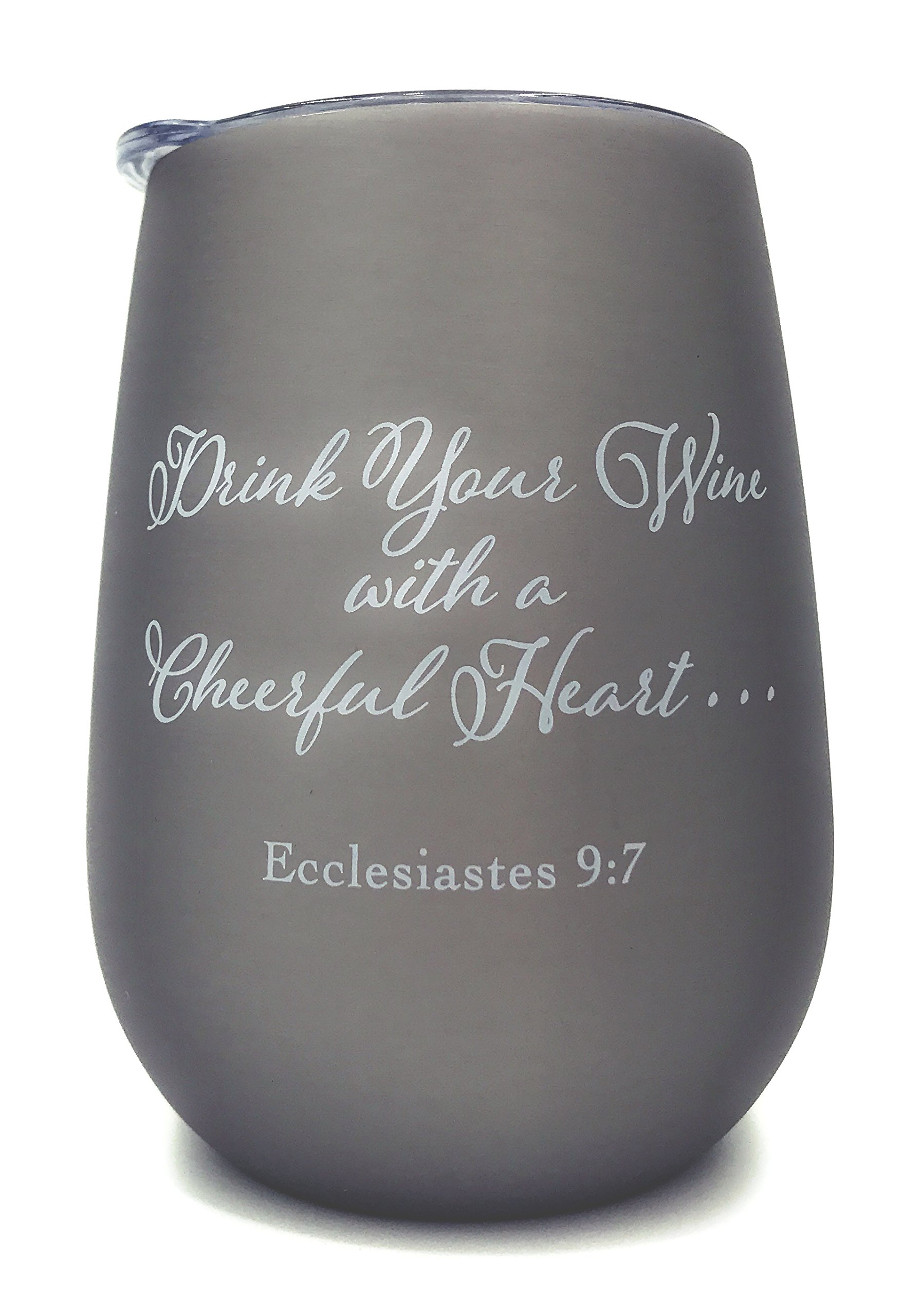Christian Stemless Insulated Wine Glass Tumbler - Christian Bible Gift - Scripture - Motivational - Inspirational