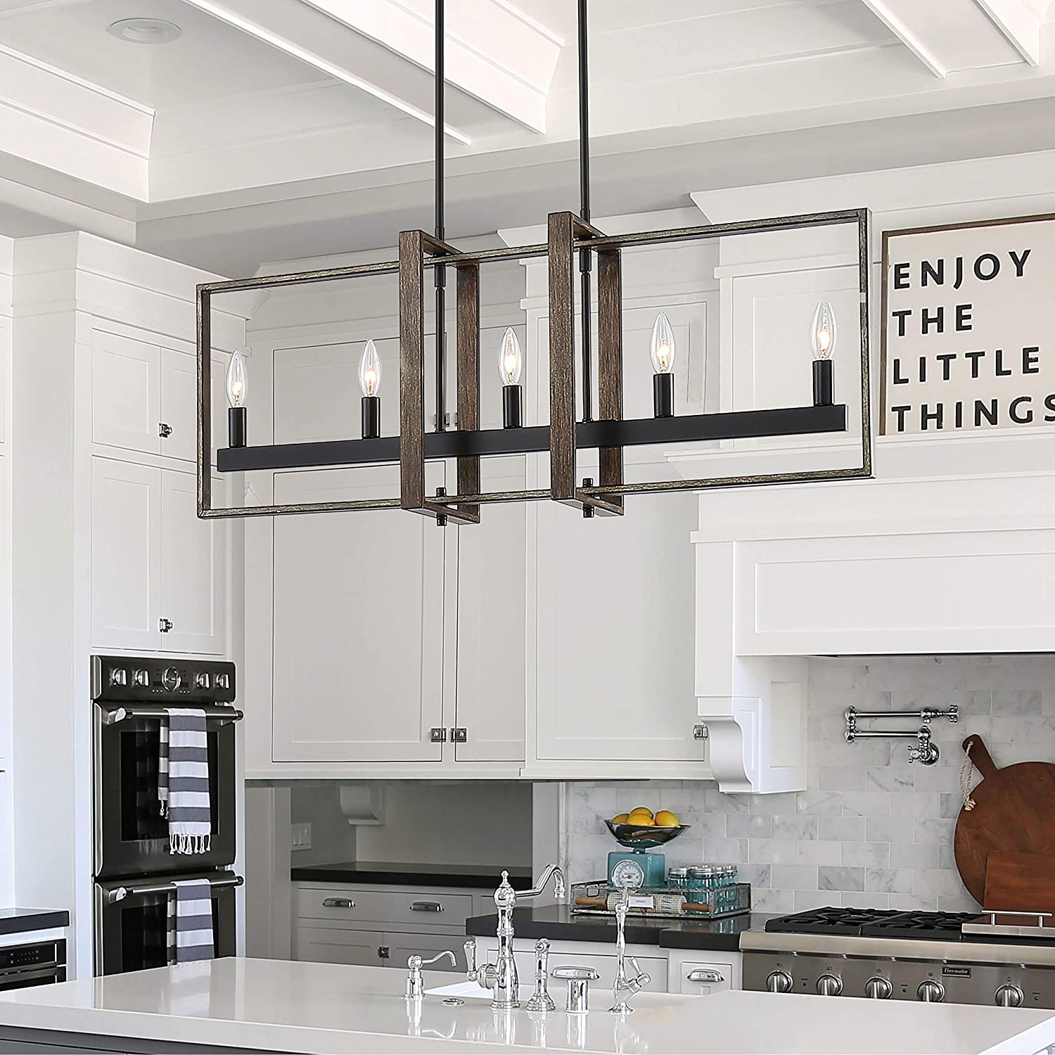 Amazon Com Modern Farmhouse Style 5 Light Linear Chandelier Lighting For Kitchen Island Led Pendant Lights Black Metal Dimmable Home Kitchen