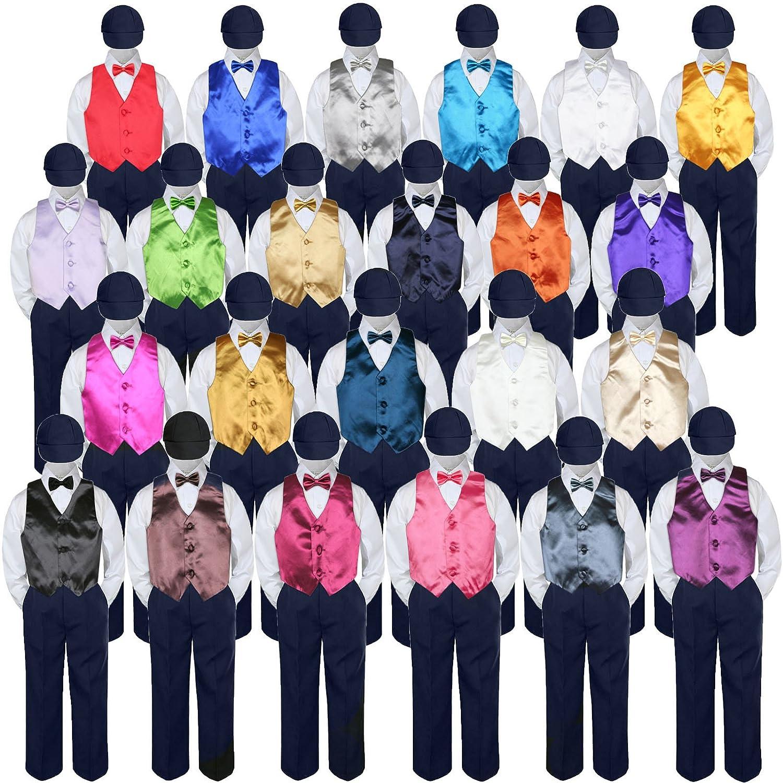 5pc Baby Toddler Kid Boy Formal Suit NAVY Pants Shirt Vest Bow tie Hat Set Sm-4T