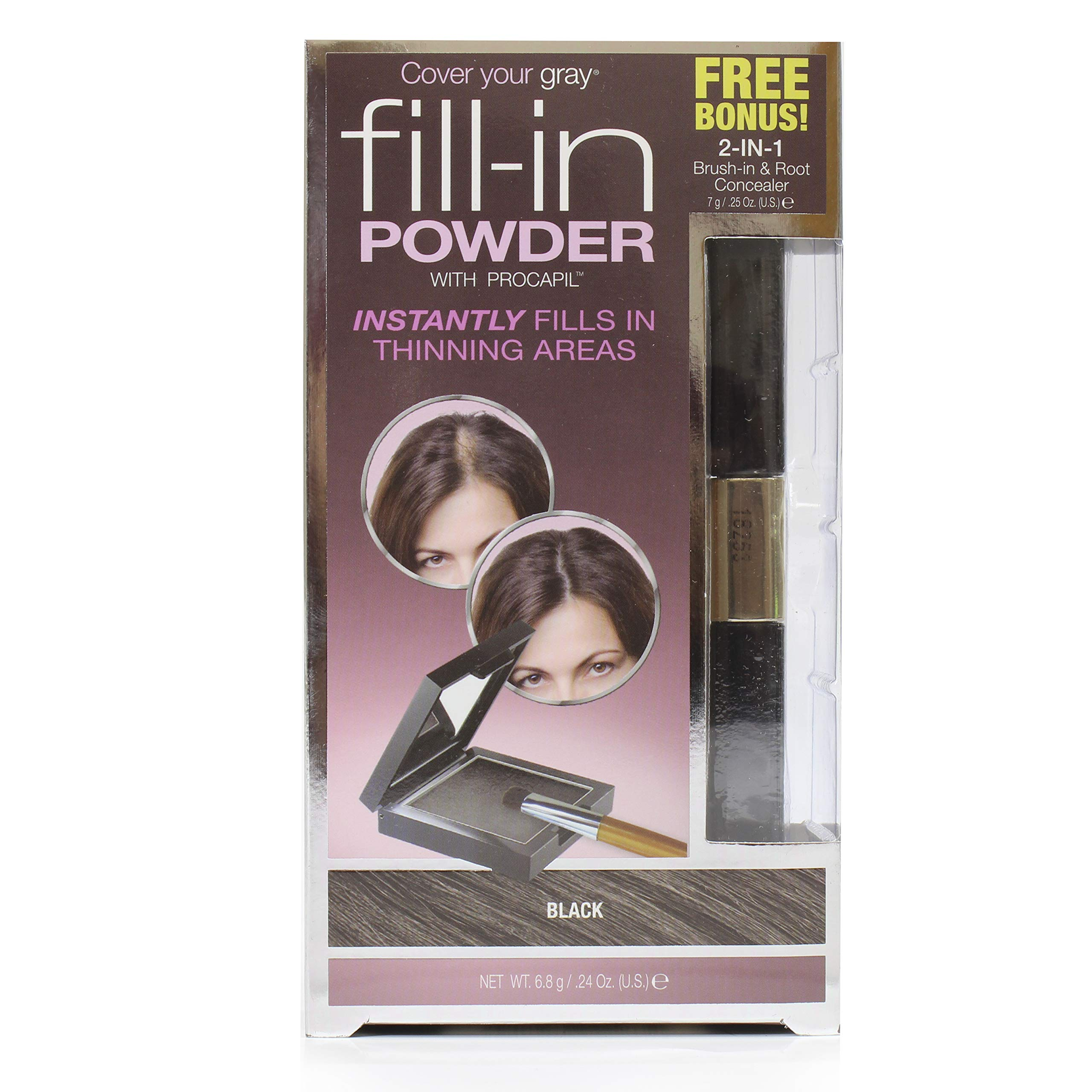Cover Your Gray Fill In Powder - Black with 2in1 Brush-in and Root Concealer by Cover Your Gray