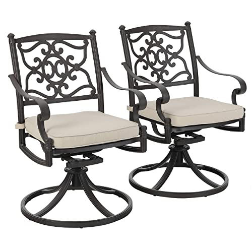 PHI VILLA Cast Aluminum Retro Outdoor Patio Swivel Dining Chairs Set of 2 fits Garden,Backyard Chair Furniture