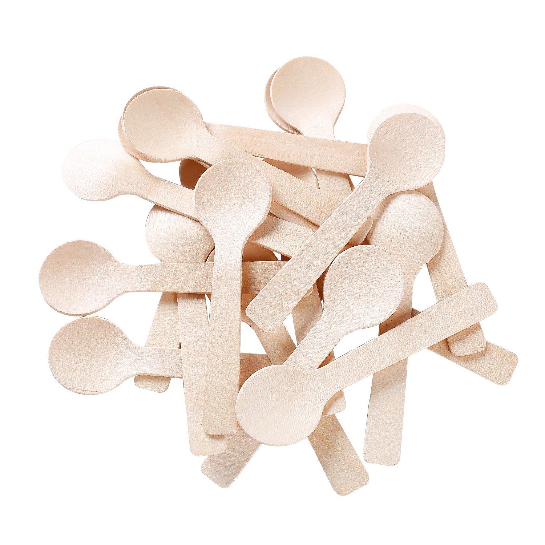Gmark Eco-Friendly 4'' Mini Wooden Spoons 200 ct, Biodegradable Compostable Birchwood (200pcs/bag) GM1042