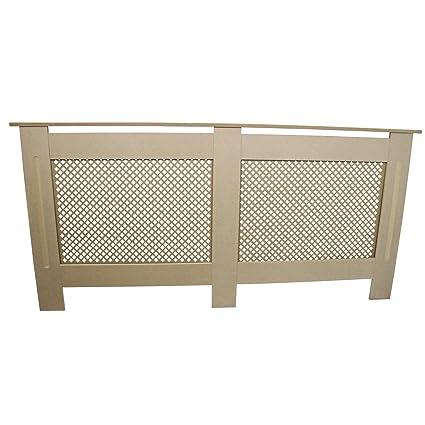Cubierta para radiador de madera MDF natural sin terminar rejilla moderna calefacción hogar muebles estante de