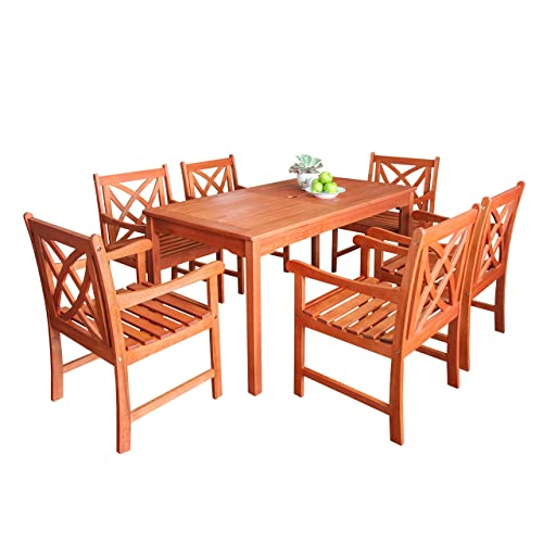 VIFAH Airlie Outdoor 7-piece Wood Patio Dining Set, Natural