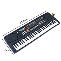 Fun Villa 61 Keys Piano LED Display Piano Keyboard Toy with Recording,Mic & Mobile Charger Power Option