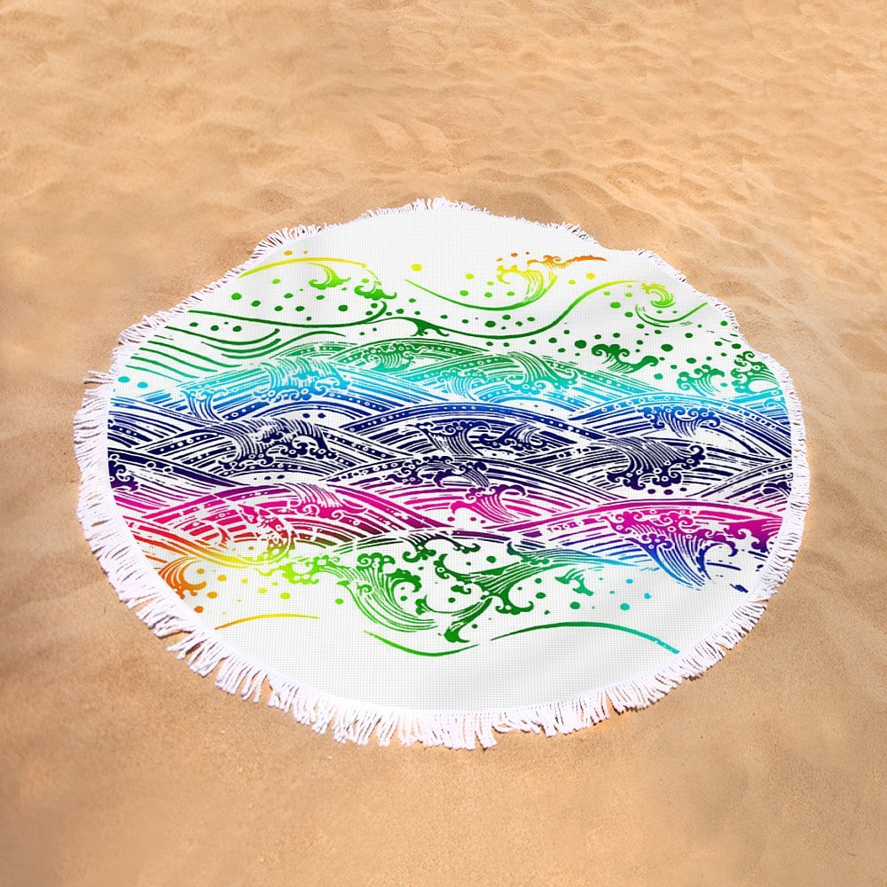Pixels Round Beach Towel With Tassels featuring ''Water Pattern'' by Setsiri Silapasuwanchai by Pixels