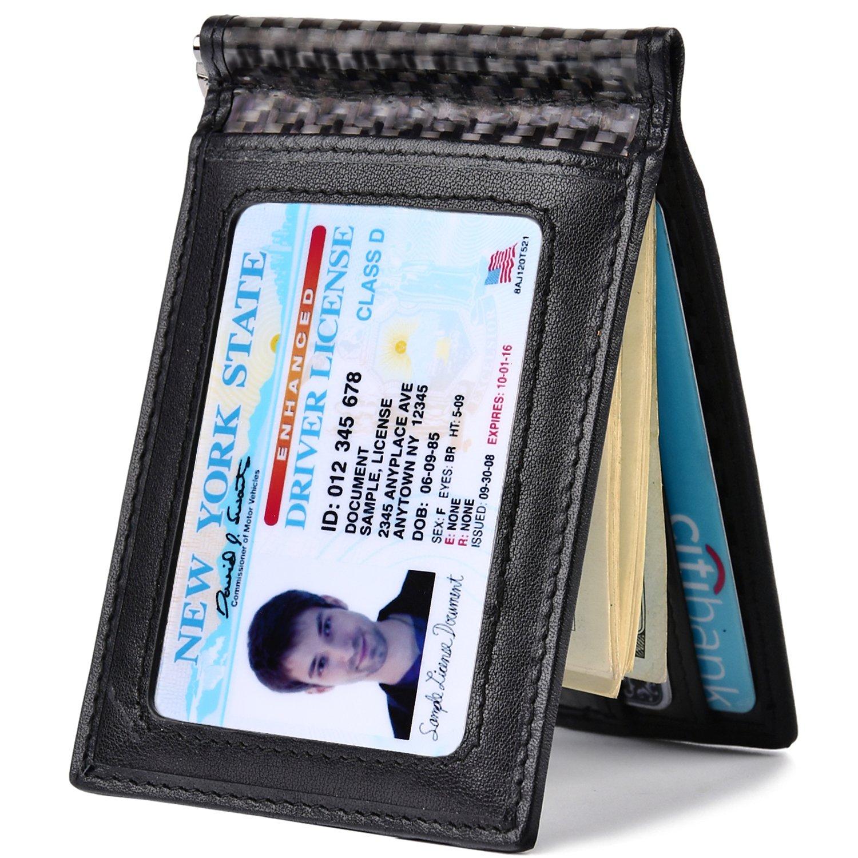 Kinzd Carbon Fiber Wallet - Mens Slim Front Pocket Wallet Genuine Leather RFID Blocking
