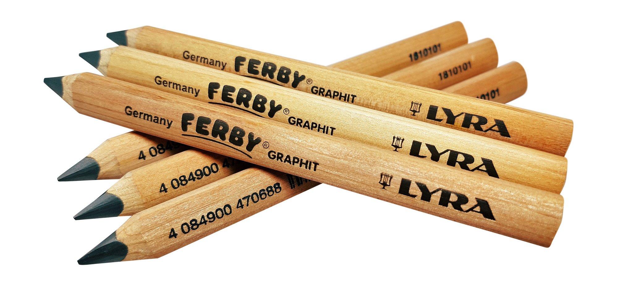 Lyra Ferby Short Tri grip Triangular Children Kindergarten Pencils, School supplies Beginner grip writing pencil for kids, Triangle Pencils, 6 Pencils by Lyra.inc