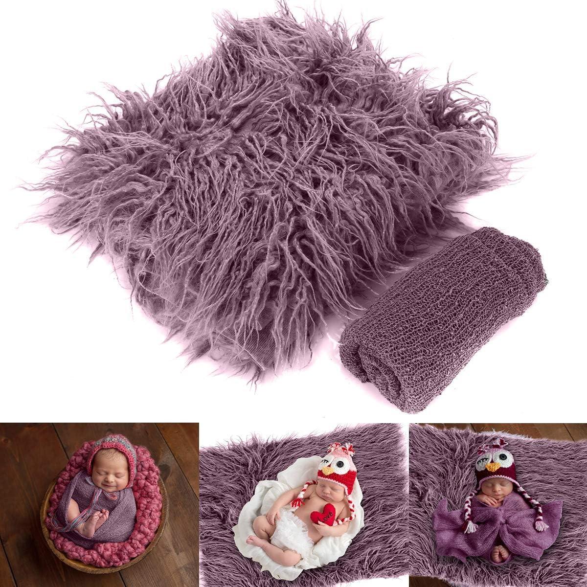 Yinuoday 2 Piezas de Accesorios para fotografía de bebé recién Nacido, Manta para bebés y niñas Taro Purple Talla:0-3 Month