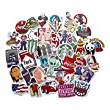 StickerFactory (Pack of 50pcs) Best Vinyl Decal Stickers Pack - All Different Random Styles Top Trendy Stickers Pack - for Macbook Laptop Skateboard Snowboard Luggage Suitcase iPhone Car Bike Bumper Stickers Bomb Pack - Vintage Retro Pop Art Graffiti Super Cool Decal Stickers Pack