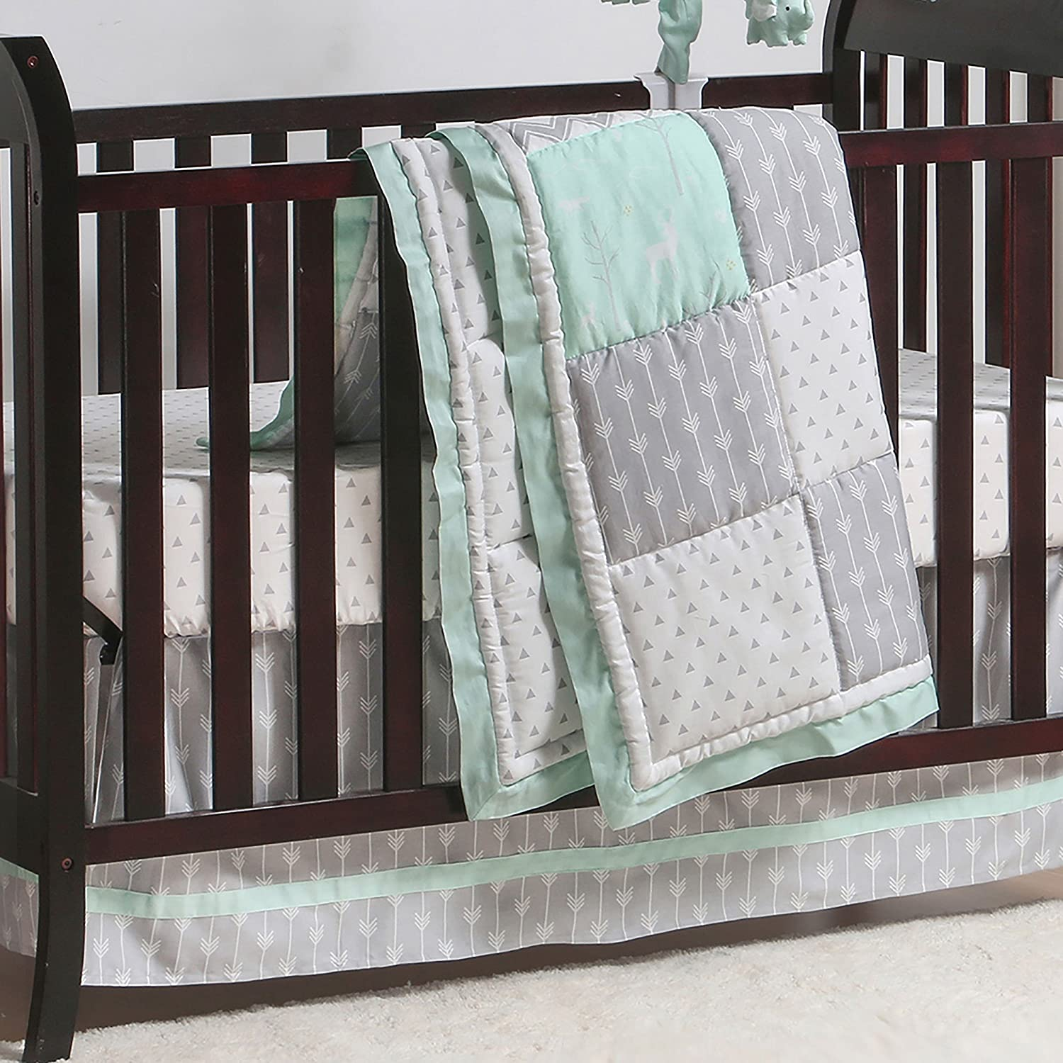 Mint Green Arrow Print 100/% Cotton Sateen Fitted Crib Sheet by The Peanut Shell