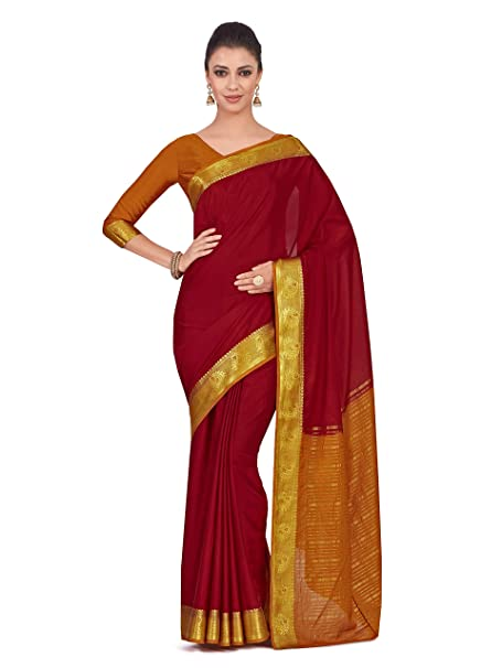 469e520d65983b Mimosa Art Crape silk saree Kanjivarm style With Contrast Blouse Color: Red  (4320-2262-2D-MRN-MST): Amazon.in: Clothing & Accessories