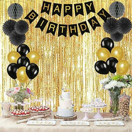 Oisee - Set de decoración de fiesta de cumpleaños de oro ...