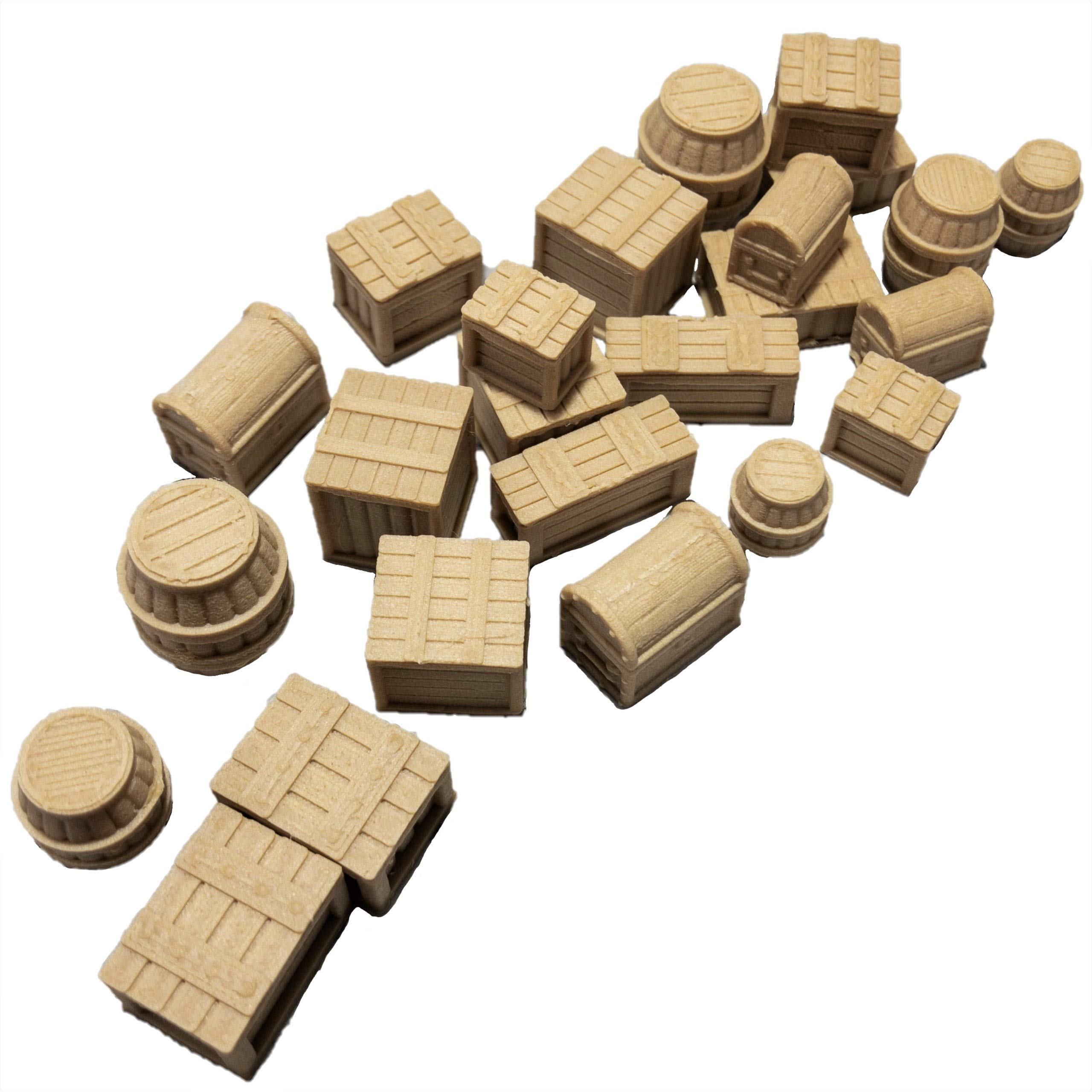 Pine Crates, Barrels and Chests - 28mm Gaming Terrain by Extruded Gaming