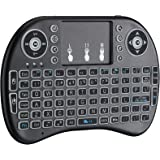 2.4GHz Mini Wireless Keyboard with Touchpad Mouse Combo, 7-Colour RGB Backlight, Upgraded Remote Keyboard for Android TV…
